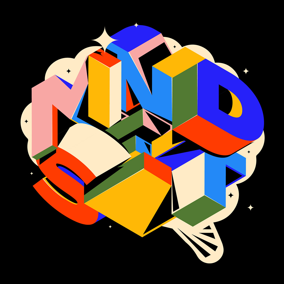 3D adobe color colorful composition design lettering type