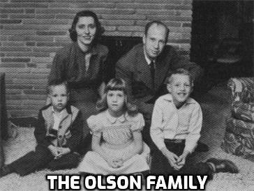 Image may contain: 5 people, people smiling, people sitting and indoor, possible text that says 'THE OLSON FAMILY'