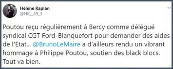 Tweet Hélène Kaplan Poutou reçu régulièrement à Bercy comme délégué syndical
