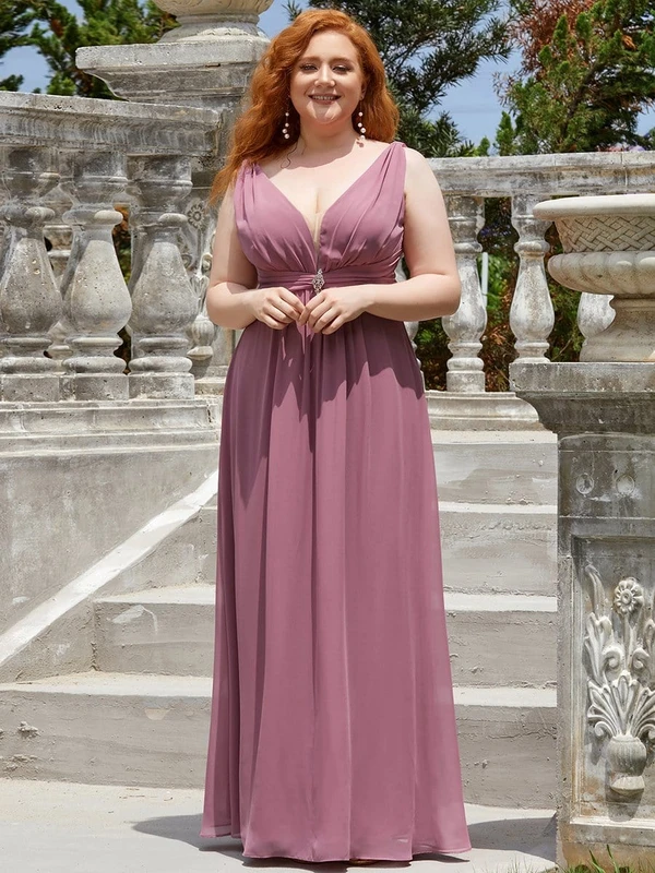 Sleeveless-A-Line-Floor-Length-V-Neck-Bridesmaid-Dress