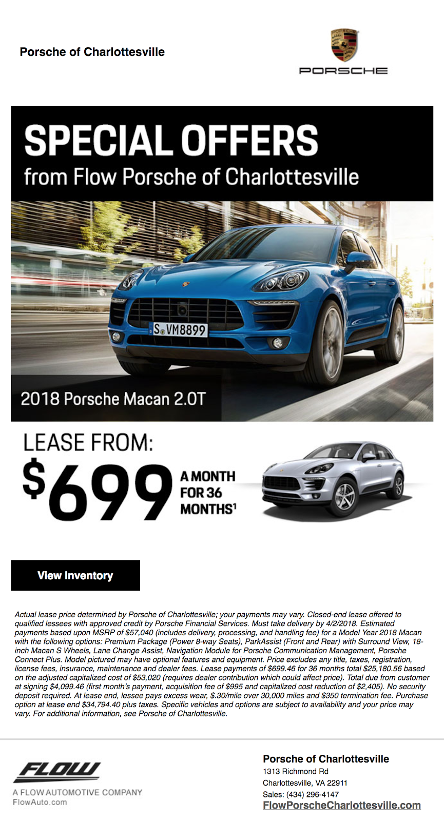 Porsche special offers email template