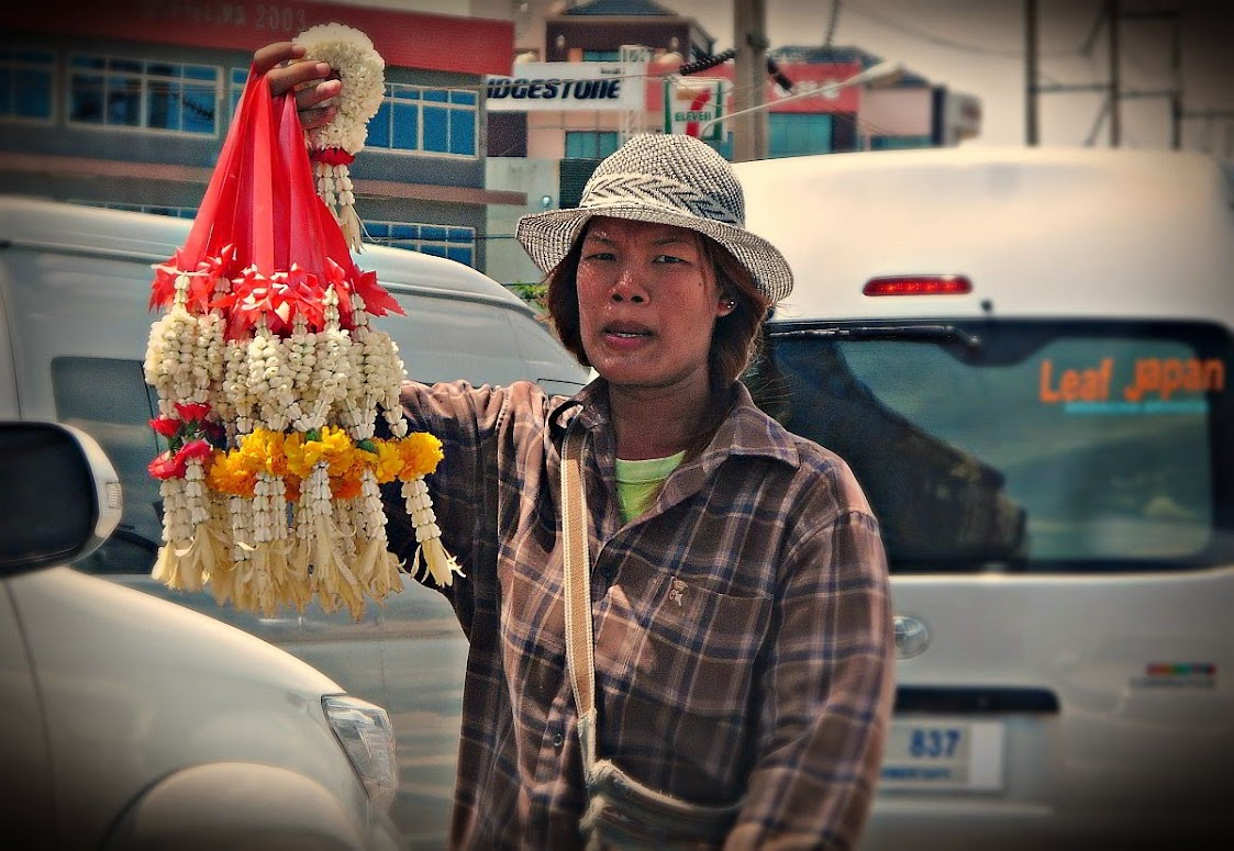 Flower garlands sold at the roadside in Thailand