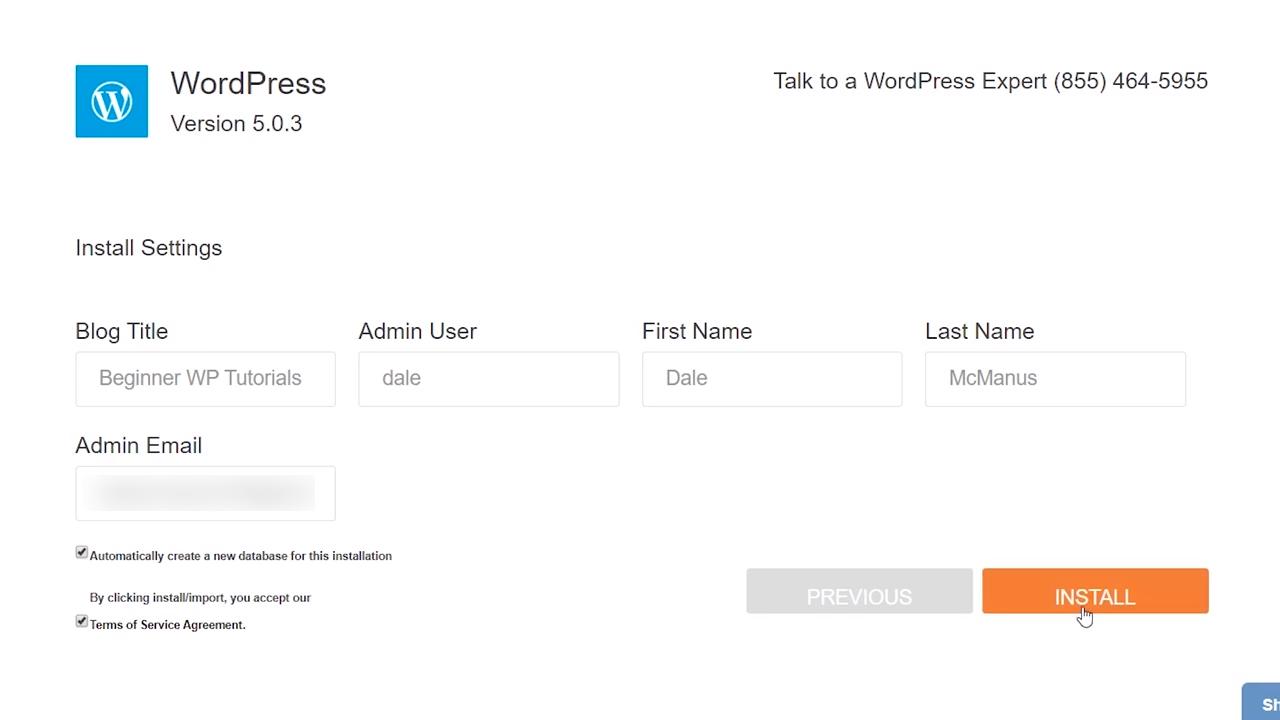 hostgator installing wordpress details