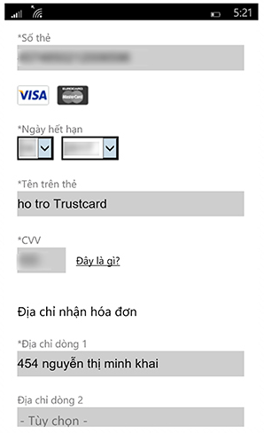 Mua ứng dụng Windows Phone bằng thẻ TRUSTcard - 130008