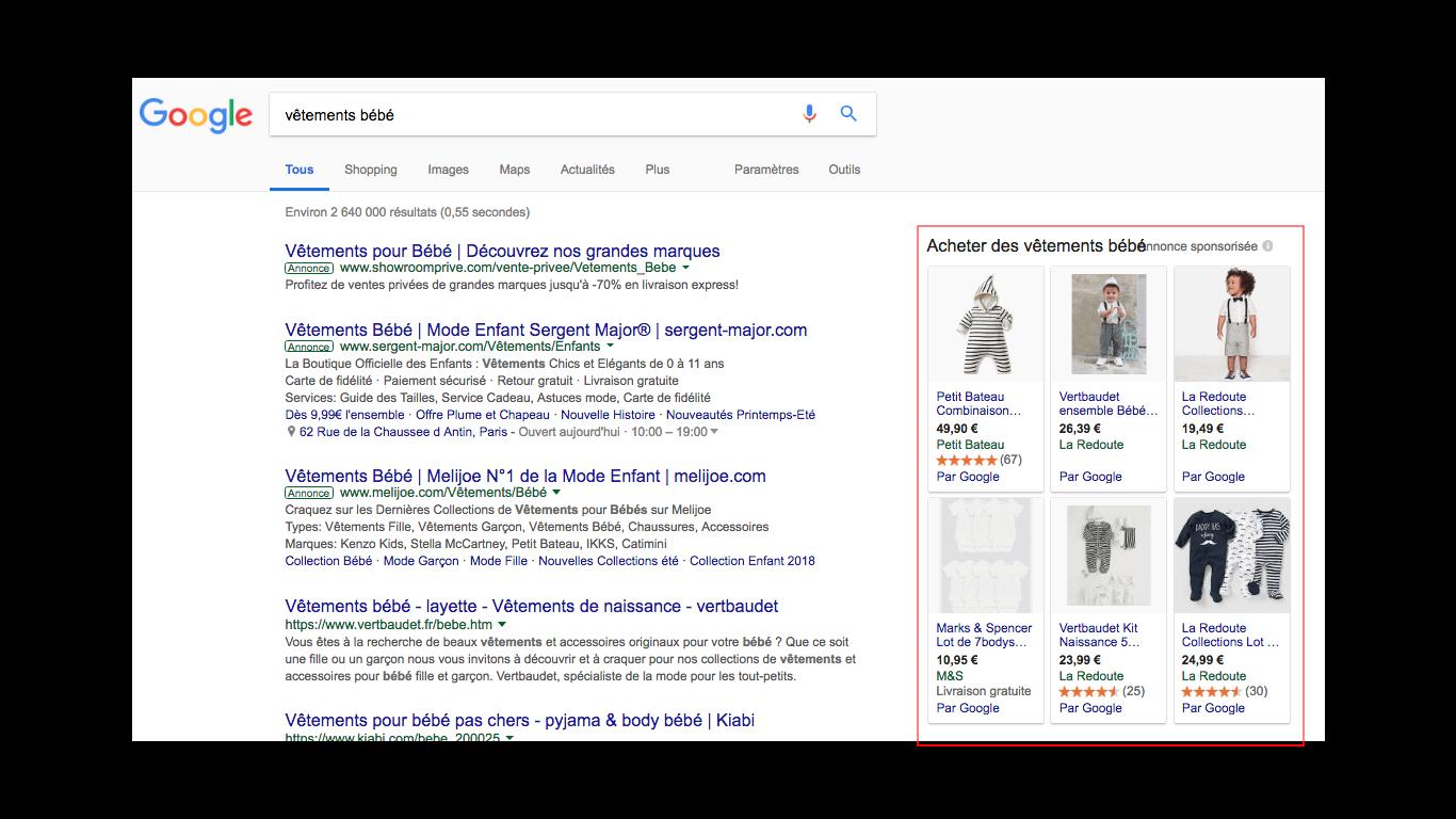 Image illustrant les publicités Google Shopping pour l'article qu'est-ce que le webmarketing de Digital Cover