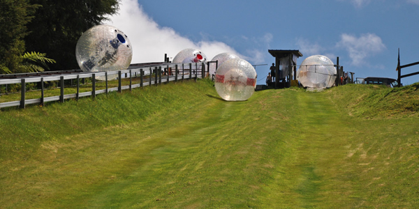 Tumble down a hill in a giant inflated ball with ZORB