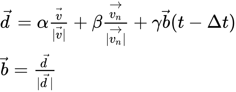 vec = alpha frac}|} + beta frac}|} + gamma vec(t-Delta t) vec = frac}|}