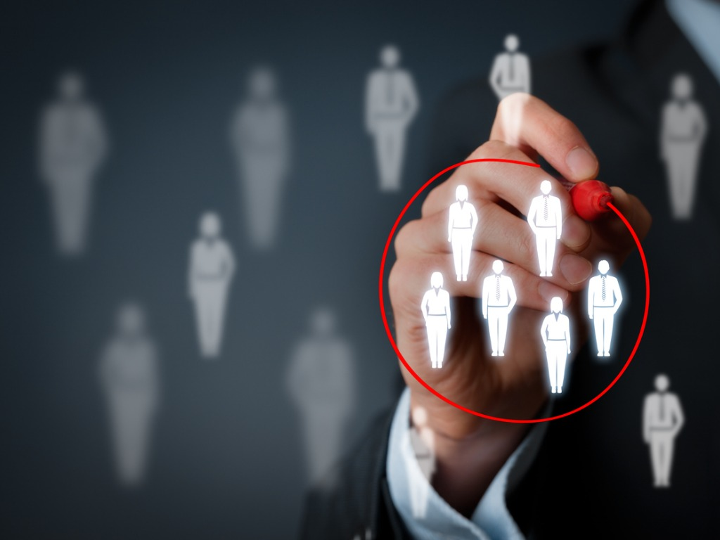 graphic of corporate illustrated people being circled in red marker
