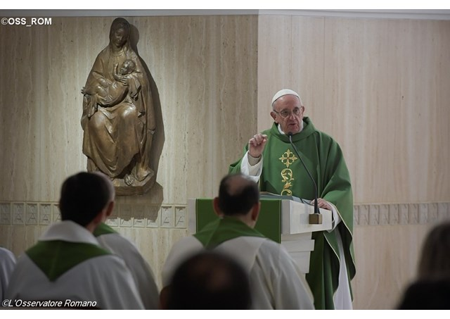 Pope Francis celebrating Mass at the Santa Marta residence. - OSS_ROM