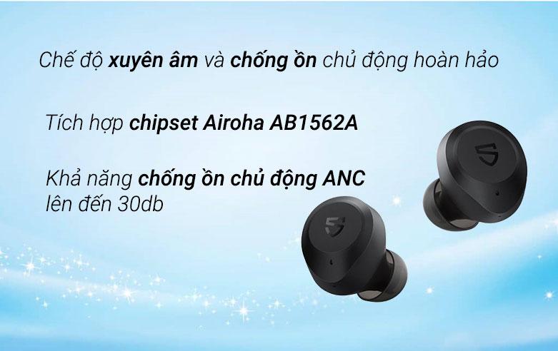 Tai nghe Bluetooth True Wireless Soundpeats T2 (Đen)| Chế độ xuyên âm và chống ồn chủ động hoàn hảo