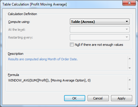 Tableau adjusting settings