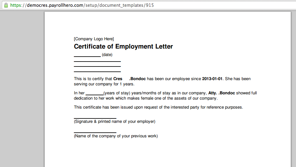 Can PayrollHero Generate a Certificate of Employment – Sample of Certificate of Employment