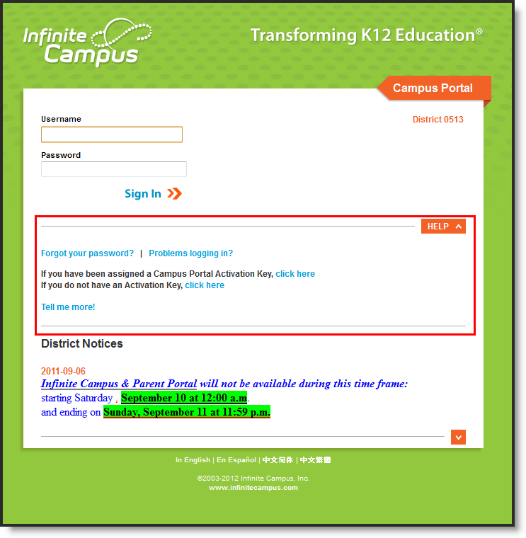 Image of Portal Login Screen for Infinite Campus
