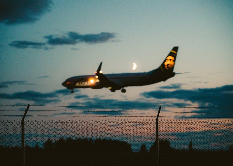 Airplane landing during the night