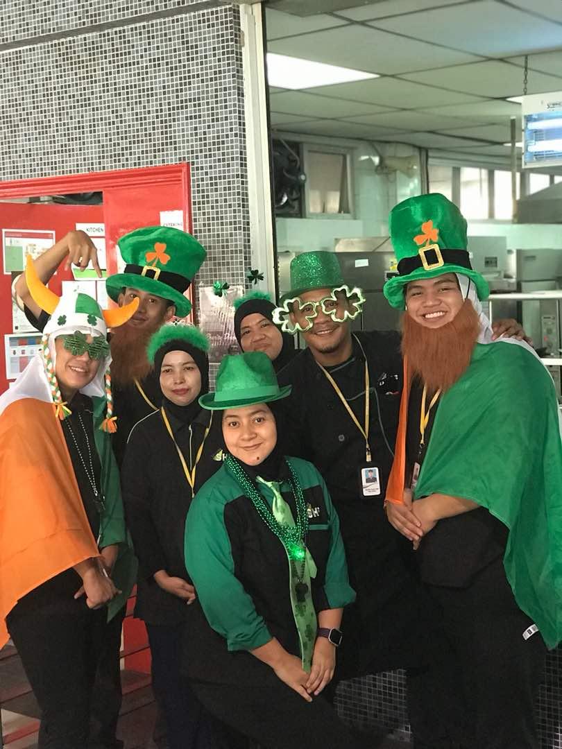 EP Catering team celebrating St Patrick's Day in 2018