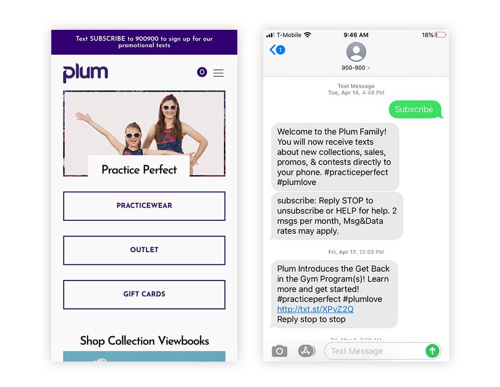 Screenshot of announcement bar promoting text marketing on website