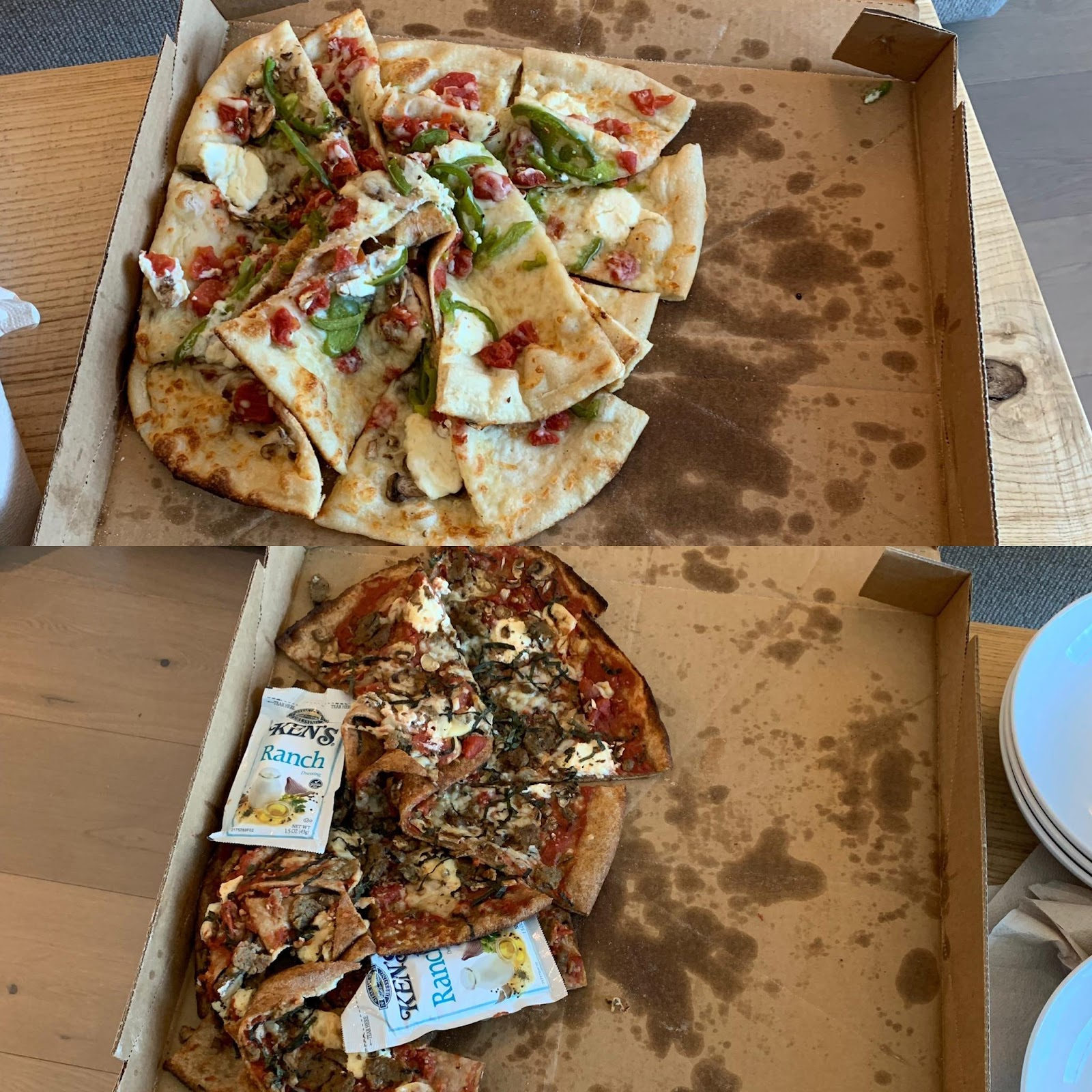 messy pizza arriving in poor delivery condition