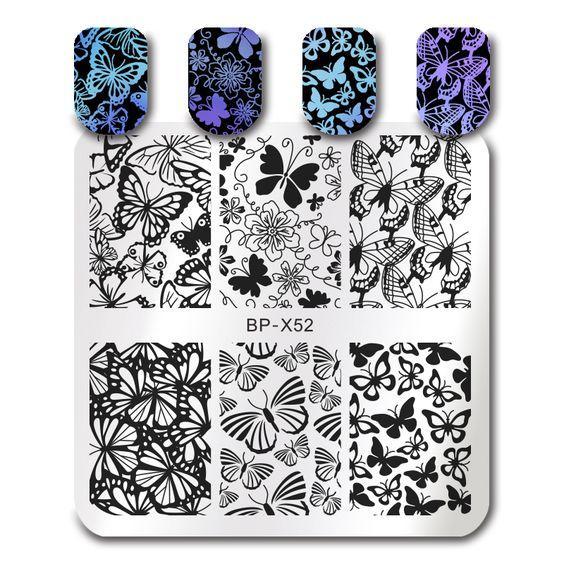 $1.99 BORN PRETTY Square Stamping Template Butterfly Flower Manicure Nail Art Image Plate BP-X52 - BornPrettyStore.com