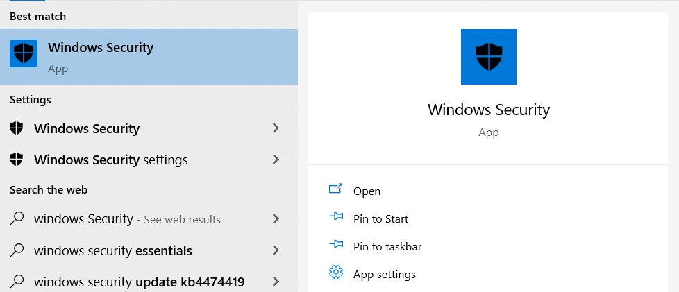 Search results for Windows Security