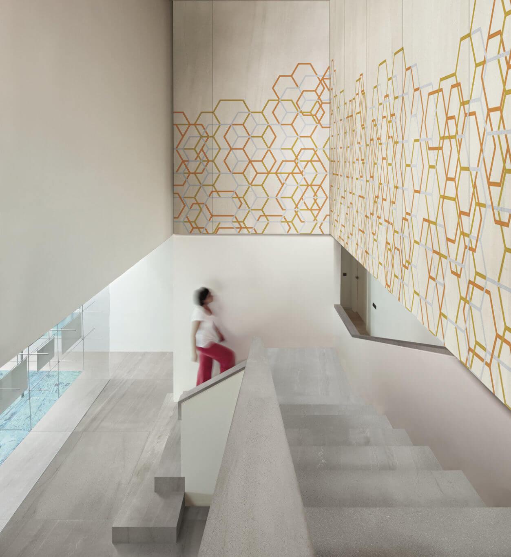 Gauged porcelain tile panels/slabs with a hexagon design