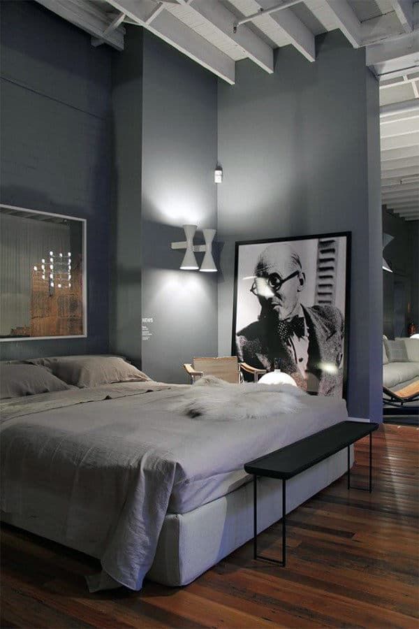 Shades of Black and Grey for a Modern Men's Bedroom Ideas