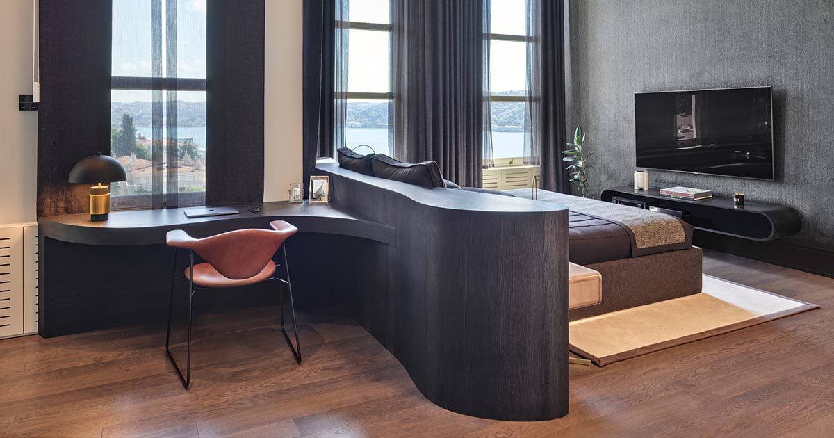 The Headboard Transitions Into A Desk