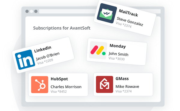 Stylized screenshot of tracked subscriptions for a company, demonstrating employee credit card