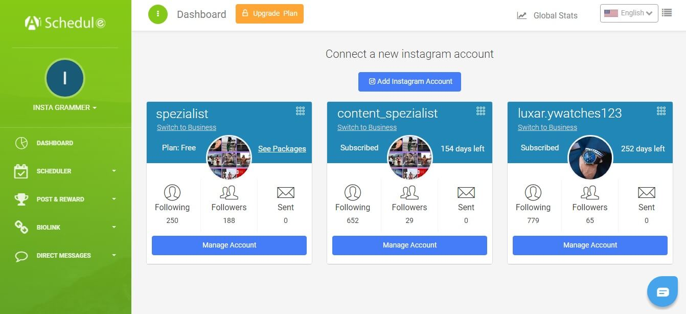 manage Joint Instagram account via AiSchedul