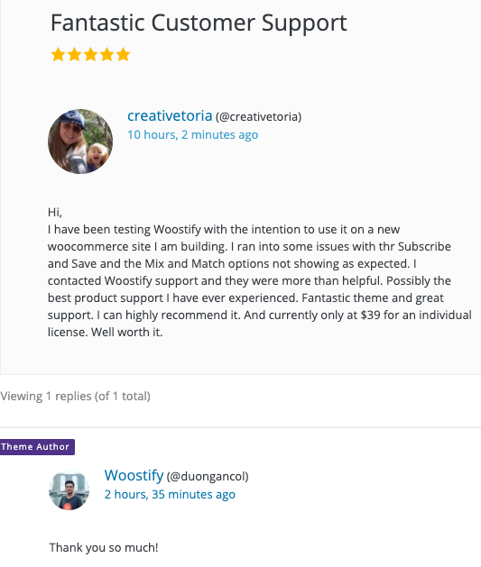 example of a well-addressed customer review