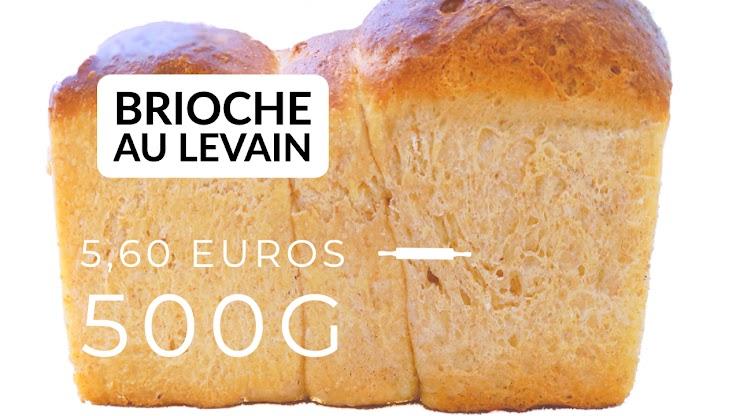Ingrédients : farine de blé bio T80, oeufs bio, beurre bio, sucre de canne bio, du  levain naturel de seigle, sel de Guérande, eau. La brioche est cuite au four à feu de bois.