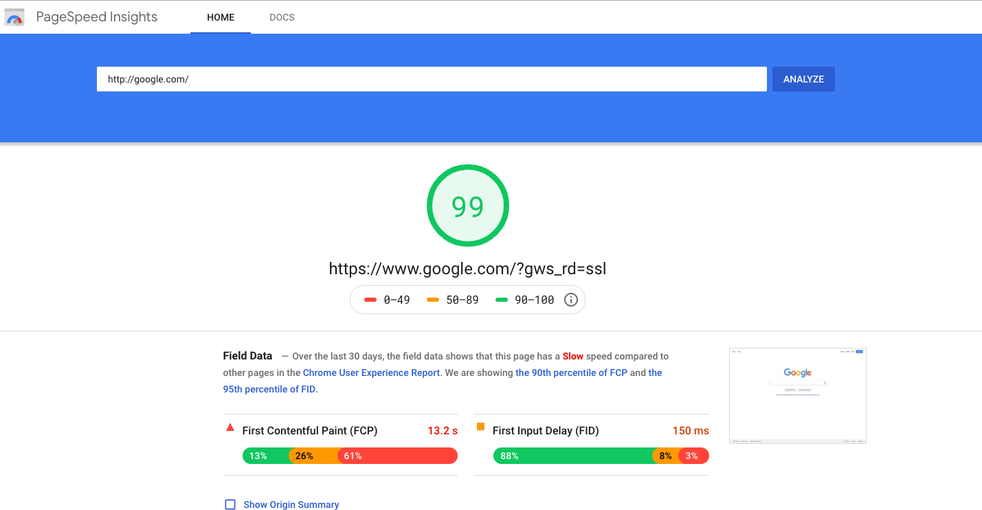 Google.com's score at 99% on Google PageSpeed Insights.