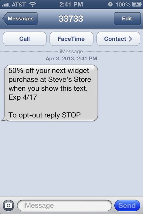 percent off SMS coupon