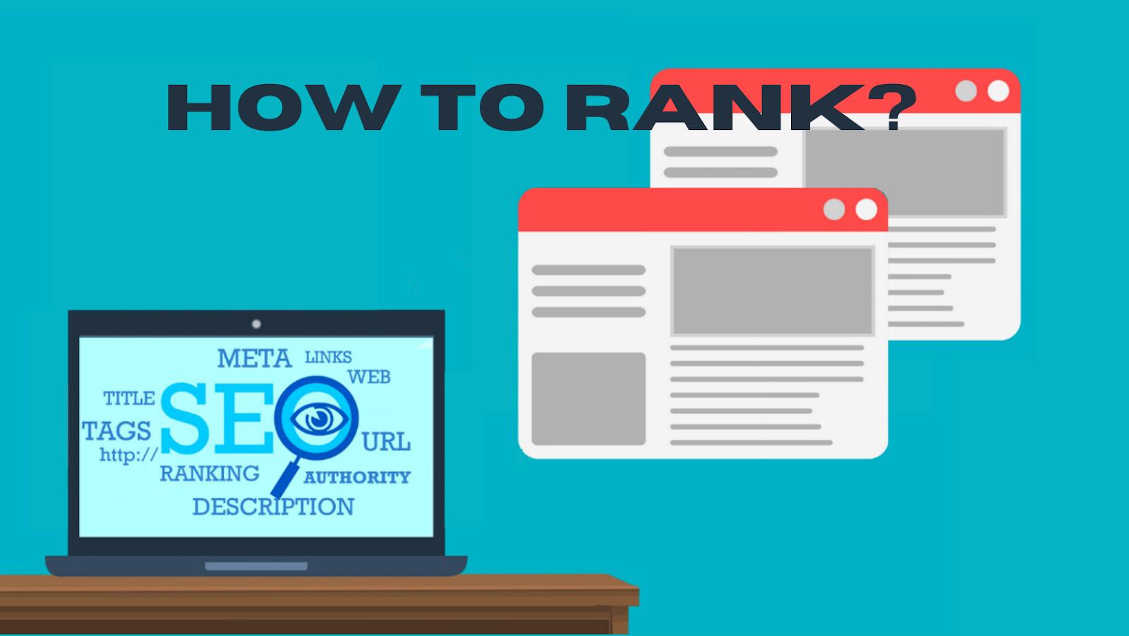 Computador com fatores de ranqueamento na tela ao lado de páginas da web. Texto: How to Rank?