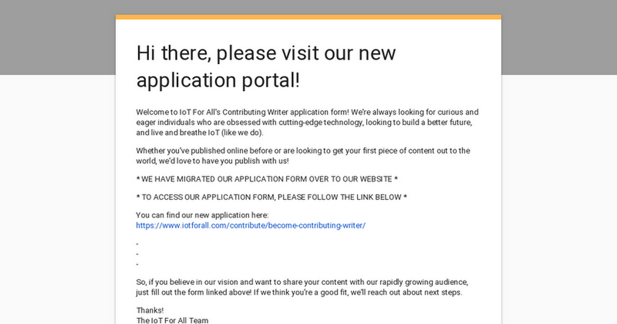 Hi there, please visit our new application portal!