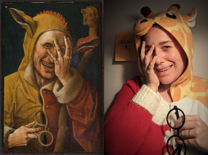 Left: Laughing Fool, Man in coat with ears on his hood holds a hand to his face as he laughs. Right, Person in giraffe hoodie and red and white sweater holds hand to face while smiling.