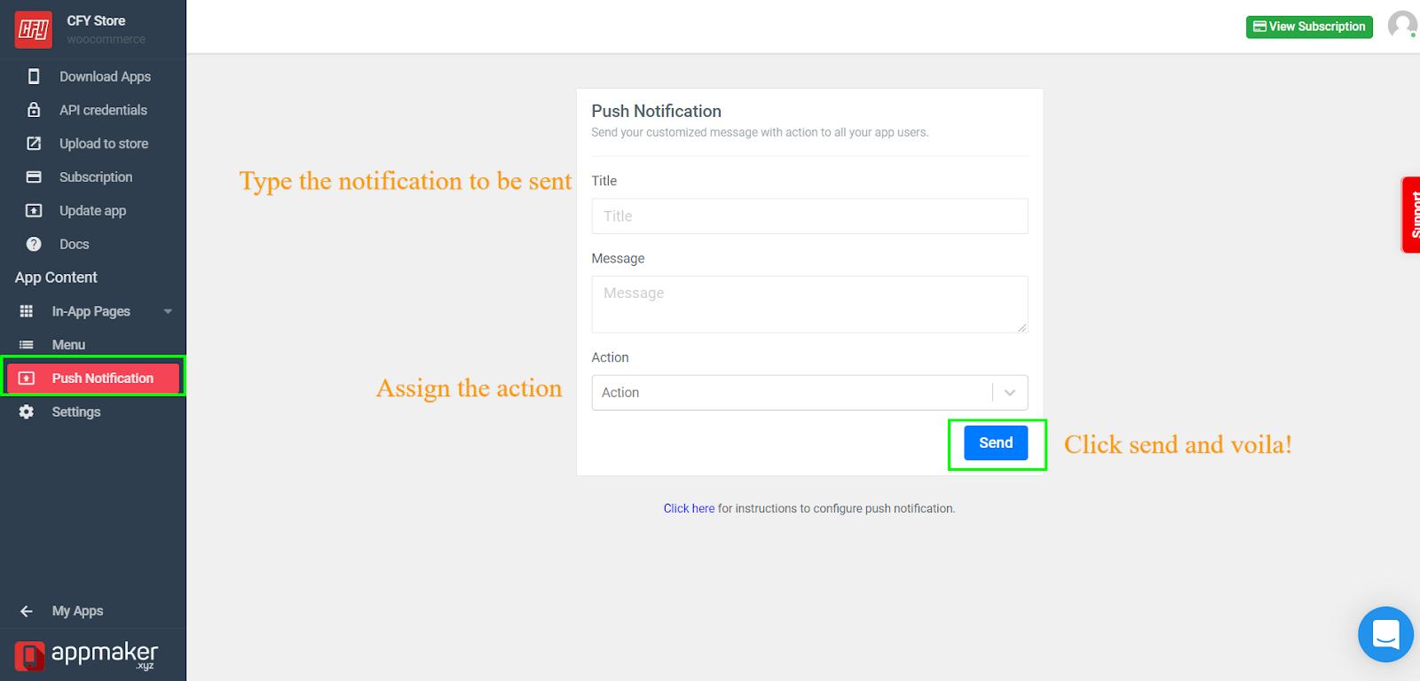 Push notification page