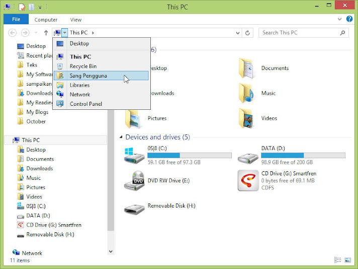 File Explorer: Go to current user data folder