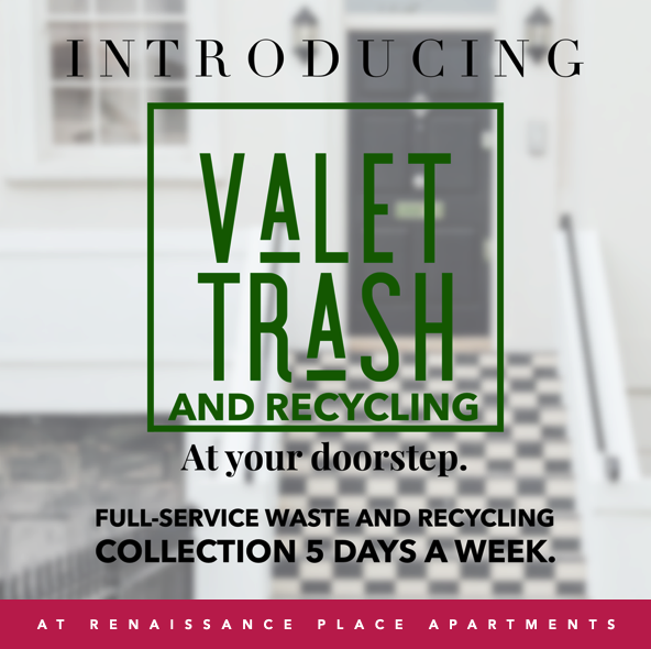 Graphic detailing information for the  Valet Trash & Recycling  service for Renaissance Place Apartments in WNY
