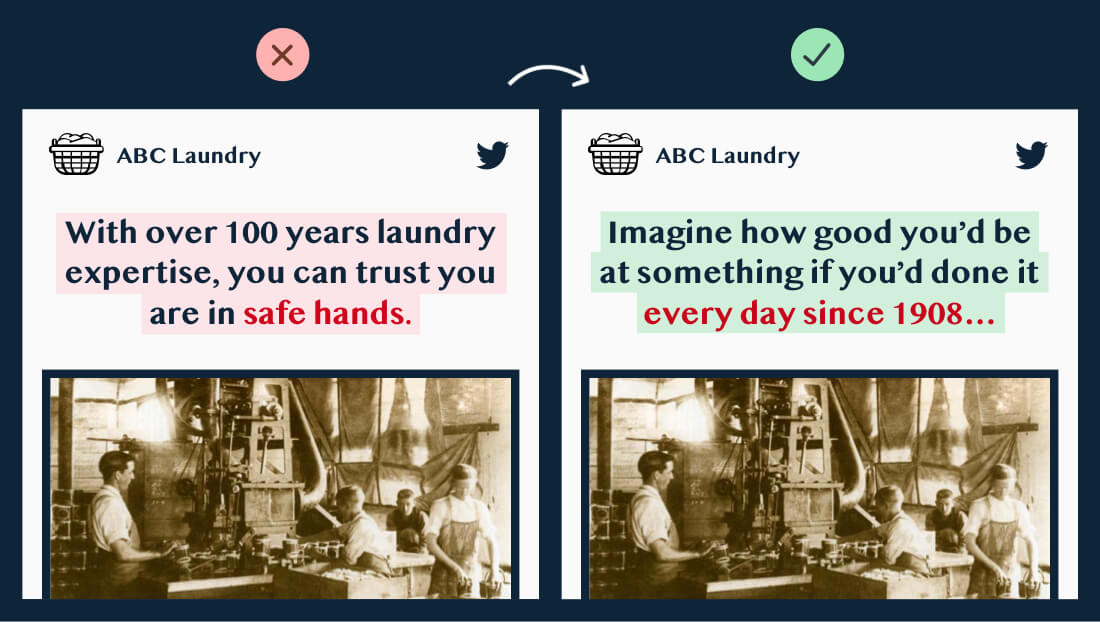 """Learn copywriting original copy: """"With over 100 years laundry experience, you can trust you're in safe hands.""""Updated copy: """"Imagine how good you'd be at something if you'd done it every day since 1908..."""""""