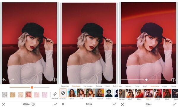 Mulher loira com boina sendo editada pelo AirBrush