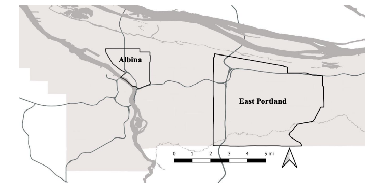 Map showing the Albina neighborhood (top left) and SE Portland (middle right) of the city of Portland, Oregon.