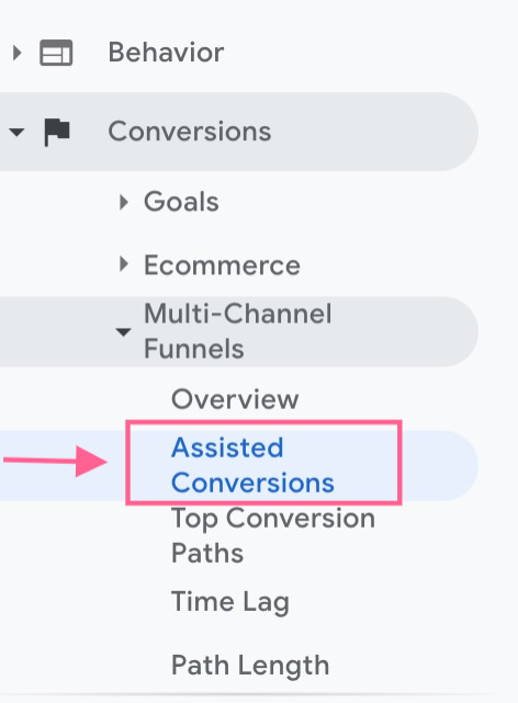 Assisted Conversions in google analytics step 1