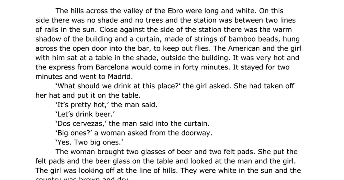 Hills Like White Elephants Ernest Hemingway Answer Questions But If I Do It