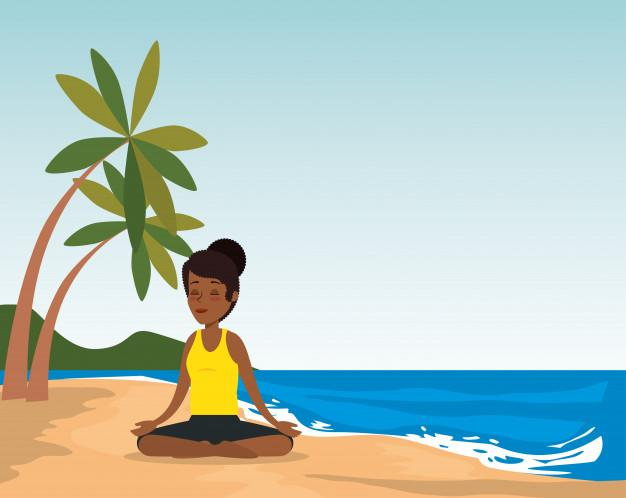 Black woman practicing yoga on the beach Free Vector