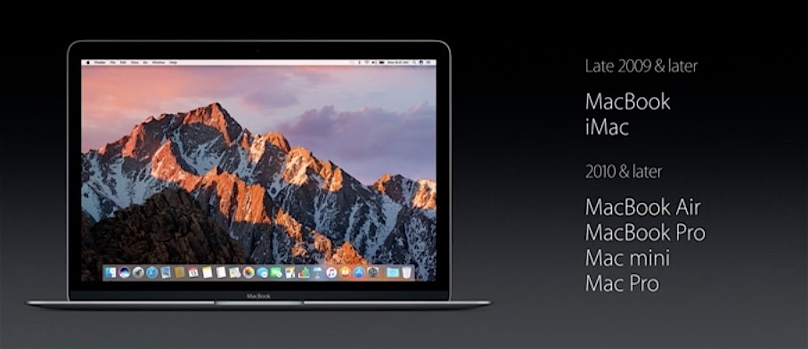 MacOS Sierra compatibility list
