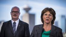 B.C. Premier Christy Clark and B.C. Finance Minister Michael de Jong during a press conference in Vancouver June 29, 2016. (John Lehmann/The Globe and Mail)