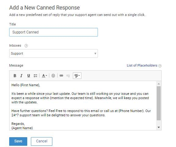 Add a new canned responce in service desk