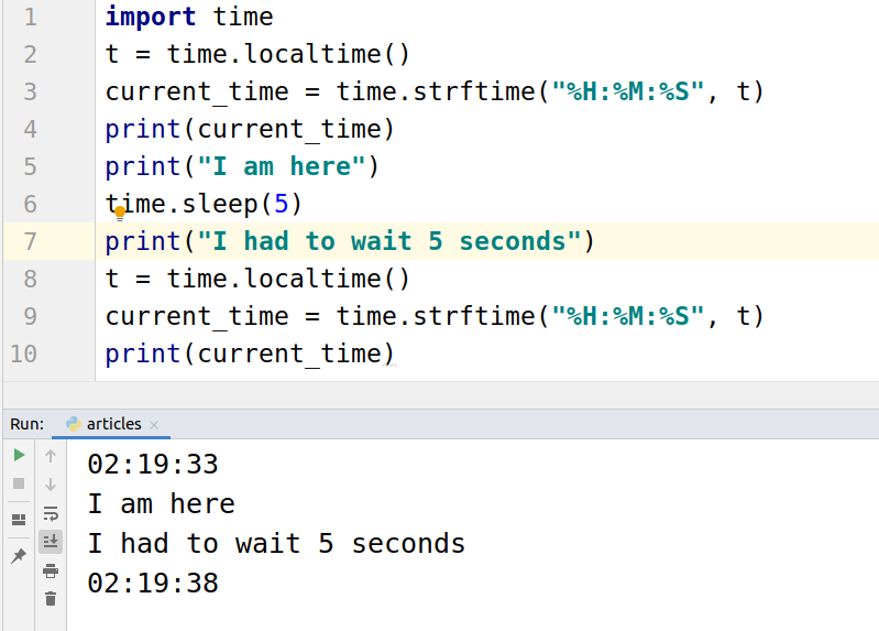 Python sleep function