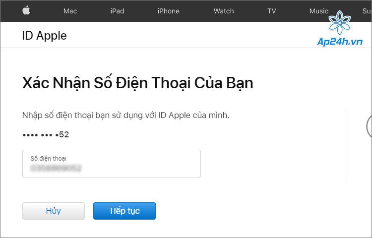 Nhập tiếp số điện thoại bạn sử dụng để đăng ký Apple ID
