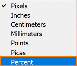 click on the Ruler and select Percent